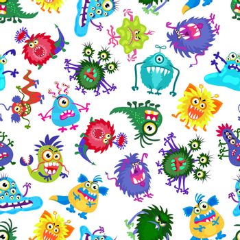 Cute monster party vector kids seamless pattern