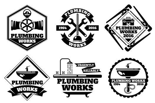 Plumber working logo and force plumbing label vector set