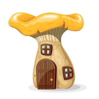 Mushroom house with door and windows vector illustration