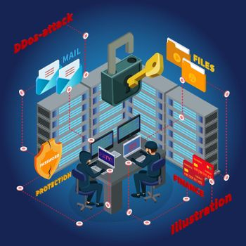 Isometric Server Ddos Attack Template