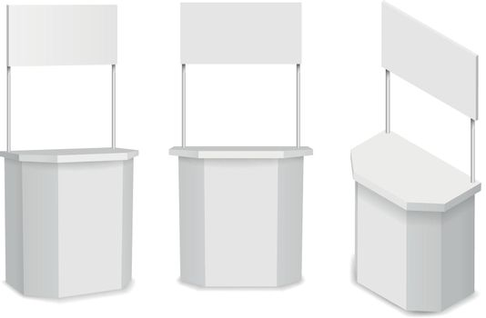 White empty stand or promotion counter vector illustration