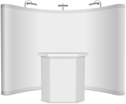 Blank vector exhibition stand with banner and table on white