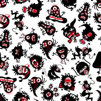Funny monsters pattern for little boy. Halloween scary creatures vector background
