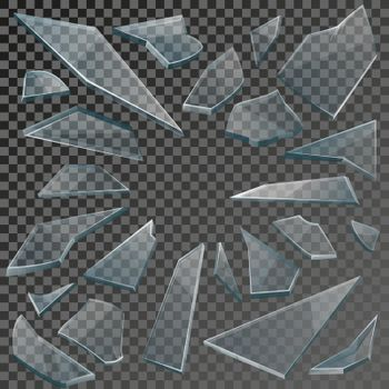 Realistic shards of broken glass with transparency