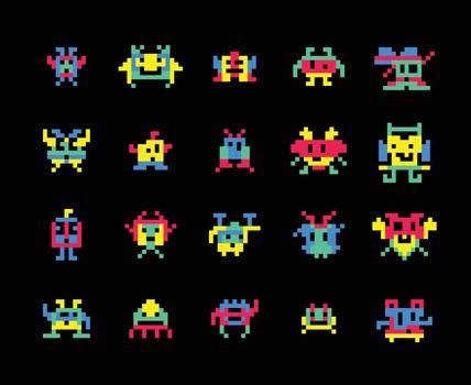 Vector pixel computer game invaders vector illustration