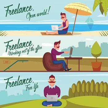 Hipster Freelancer Banners Set