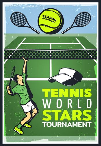 Colored Vintage Tennis Championship Poster