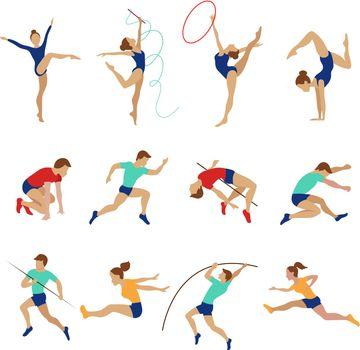 Athlete set isolated on white background. Olympic athletes vector illustration