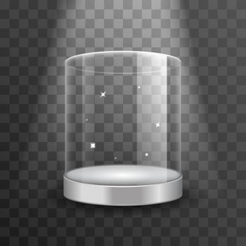 Clean glass showcase podium with spotlight and sparks vector illustration