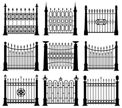 Black and white iron gates and fences architecture elements vector set