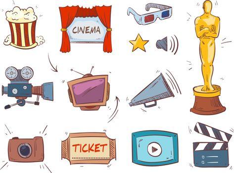 Hand drawn cinema entertainment concept vector icons