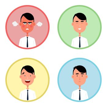 Business man vector illustration. Four male emotion
