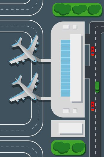 Airport top view vector illustration. Landing pad and airplanes