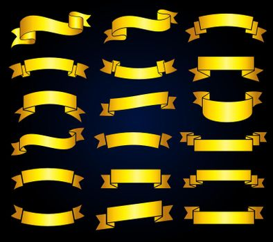 Retro golden ribbon banners vector stock