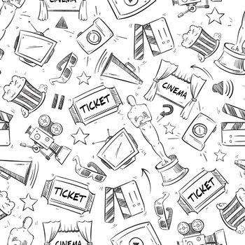 Cinema, movie doodle vector seamless pattern