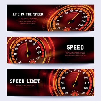 Automobile racing vector banners with car speedometer