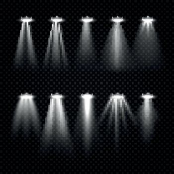 White beam lights, spotlights isolated on dark transparent background