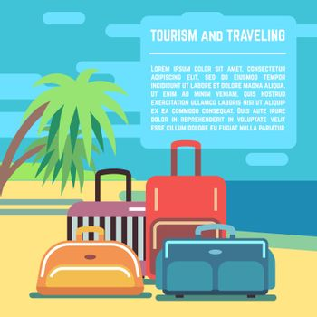 Traveling planning, summer holiday, tourism vector background