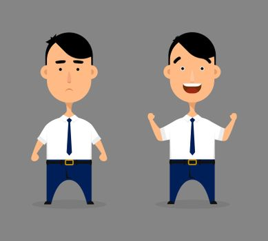 Office man character vector illustration. Cartoon worker expression or emotion set