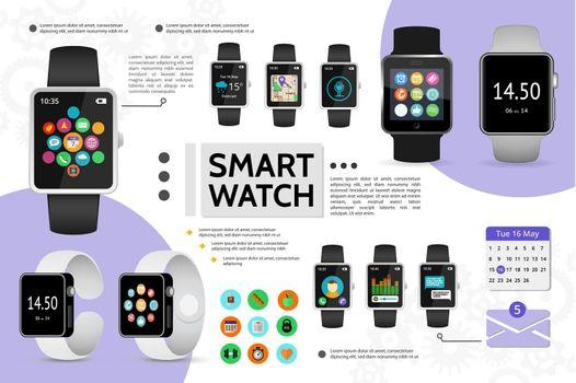 Flat Smart Watch Elements Composition