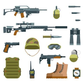 Military armor and weapon guns icons flat set