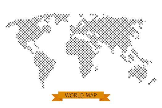 Vector world map cross dot