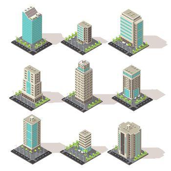 Isometric Office Buildings Set