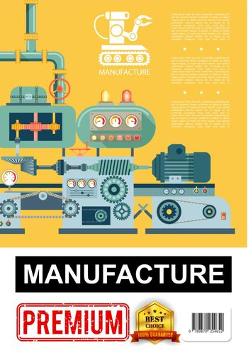 Flat Industrial Manufacturing Poster
