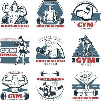 Colored Body Building Emblem Set