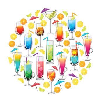 Classic Alcohol Cocktails Round Design