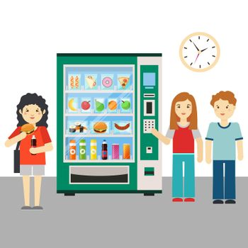People and vending machine or snack dispenser vector illustration