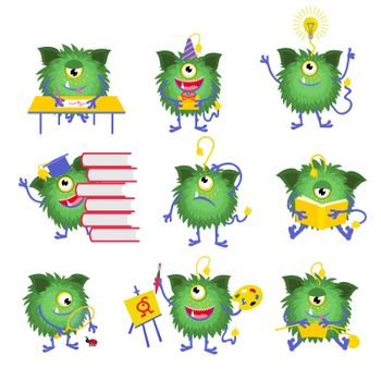 Kids education. Monster character with book vector illustration