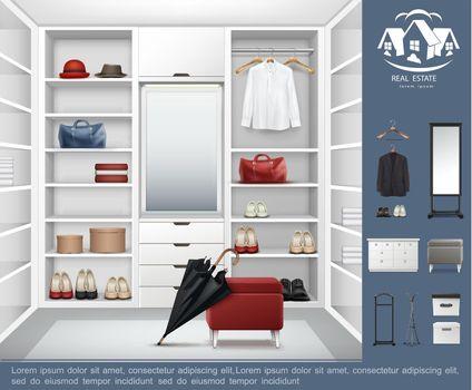 Realistic Modern Wardrobe Room Concept