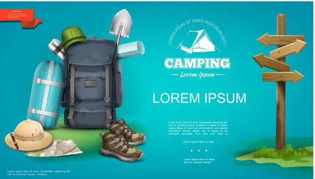 Realistic Summer Camping Template