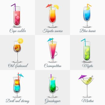 Classic Alcohol Cocktails Icons Set