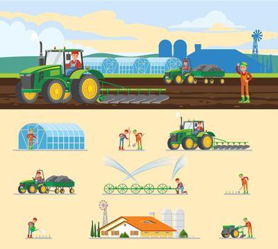 Colorful Farming Concept