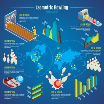 Isometric Bowling Infographic Template