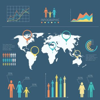 Vector infographic with people icons and charts