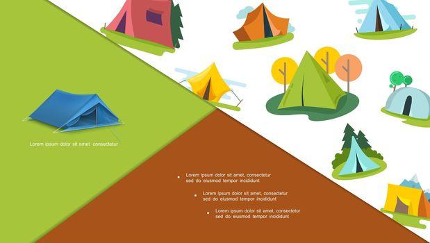 Colorful Tourist Tents Composition