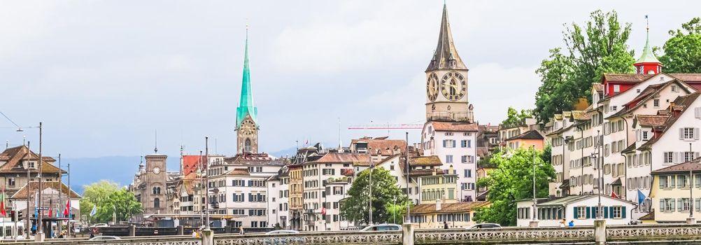 Zurich, Switzerland view of historic Old Town buildings near main railway train station Zurich HB, Hauptbahnhof, Swiss architecture and travel destination