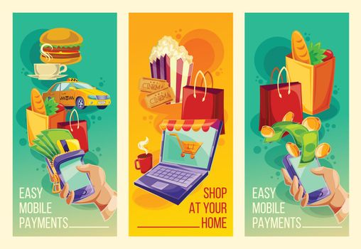 Set vector banners showing the ease and convenience of online payments in the cartoon style