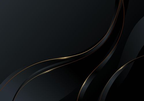 Abstract gold wave line on black background luxury style