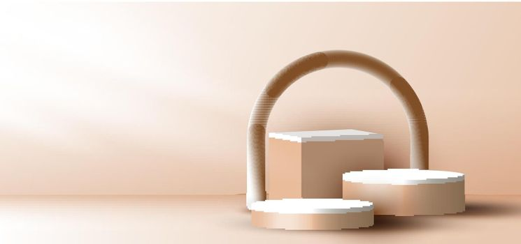 3D realistic elegant brown geometric cylinder, cube on layers rounded backdrop on beige background with lighting