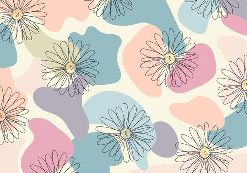 Abstract pattern hand drawn line flower in organic shape pastel color background