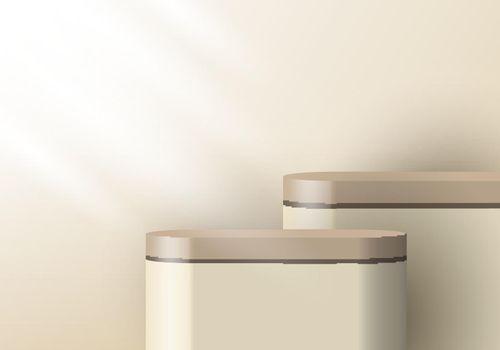 3D realistic brown beige pedestal backdrop for product display. Platform in studio lighting background