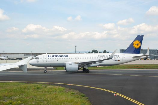 05/26/2019 Frankfurt Airport, Germany. Frankfurt Airport is the busiest airport by passenger traffic in Germany as well as the 4th busiest in Europe. Operated by Fraport and serves as the main hub for Lufthansa including Lufthansa CityLine and Lufthansa Ca