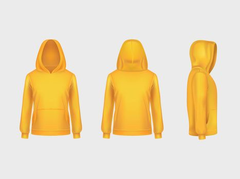 Vector yellow hoodie sweatshirt 3d realistic mockup template on white background. Fashion long sleeve, clothing pullover