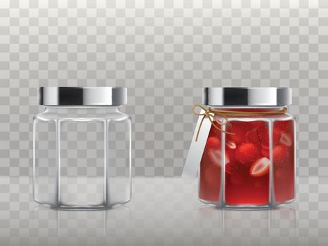 A set of vector illustrations of glass figured jars is empty and with a strawberry jam