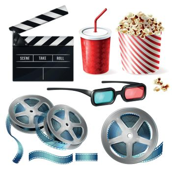 Cinema clipart of 3d vector realistic objects