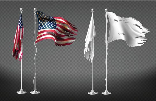 Vector realistic clipart with damaged dirty flags